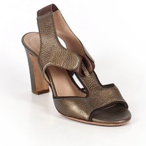 CHLOE stunning metallic bronze leather heels